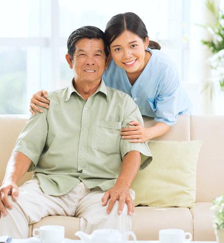 caregiver and senior woman walking