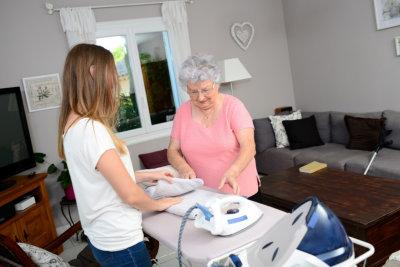 caregiver and senior linen
